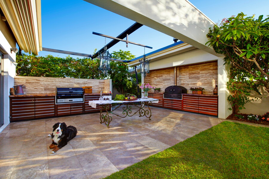 A dog sitting in outdoor landscape area of house